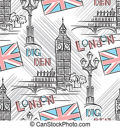 Big Ben seamless - vector seamless background with London's...