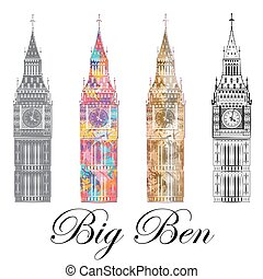 Big Ben, set, vector illustration