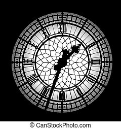 Big Ben black and white silhouette clock