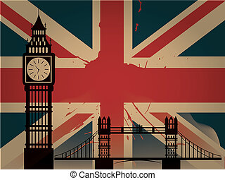 big ben silhouette - the england flag with colors and big...