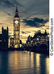 Big Ben spirit - Big Ben clock tower in London at sunset,...