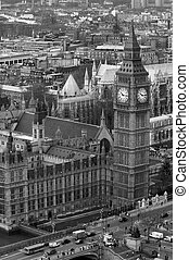 Big Ben and Houses of Parliament from the air