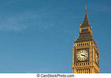 Big ben - London Big ben with blue sky background in...
