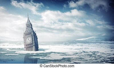 Big Ben Submerged In Ocean