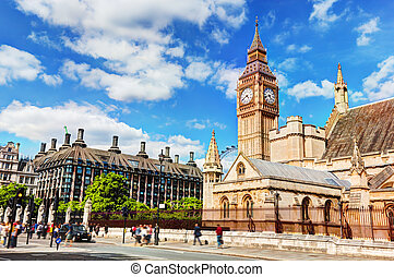 Big Ben, the Palace of Westminster and Portcullis house in London, the UK