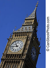 Big Ben tilt - Big Ben in London England at 10:45am.