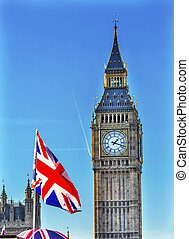 Big Ben Tower British Flag Parliament Westminster Bridge London England