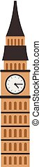 Big ben tower icon, flat style - Big ben tower icon. Flat...