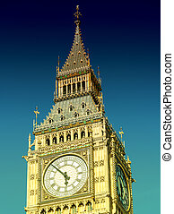 Big Ben Tower in London against blue sky