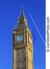 Big Ben Tower Plane Houses of Parliament Westminster London England