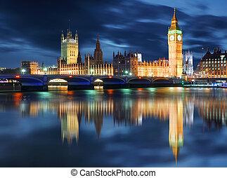 big ben, und, häuser parlaments, an, abend, london, vereinigtes königreich