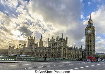big ben, und, häuser parlaments, london