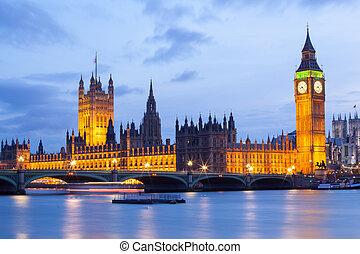 big ben, und, westminster brücke, london