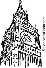 big ben - vector illustration sketch hand drawn isolated on white background