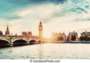 Big Ben, Westminster Bridge on River Thames in London, the UK. Vintage