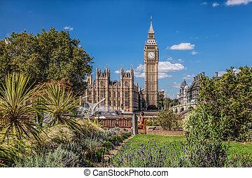 Big Ben with beautiful green garden in London, England, UK