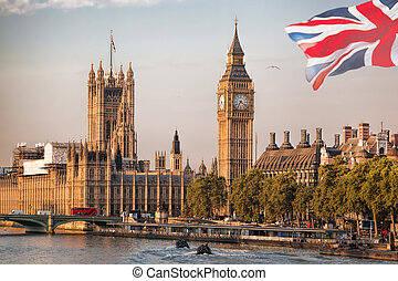 Big Ben with boats in London, England, UK