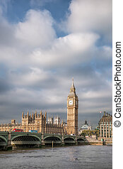 Big Ben with bridge in London, England, UK