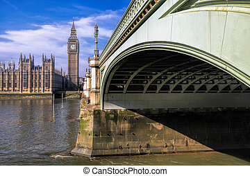 Big Ben with bridge in London, England, UK