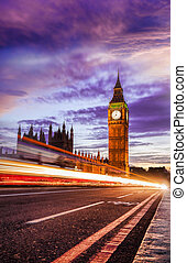 Big Ben with bridge in the evening, London, England, UK