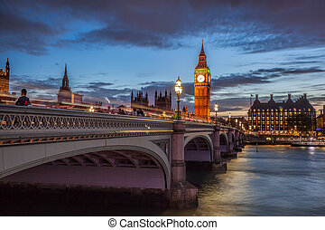 Big Ben with bridge in the evening, London, England, UK