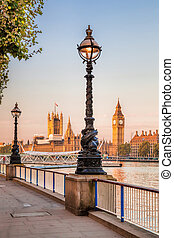 Big Ben with embankment in London, England, UK