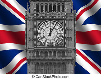 Big Ben with Flag - Big Ben bell tower with rippled British...