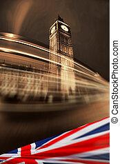 Big Ben with flag of England, London, UK