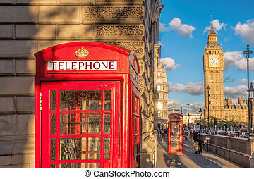 Big Ben with red phone booth in London, England, UK