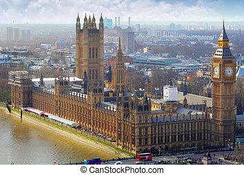 big ben, y, cámaras del parlamento, londres, reino unido
