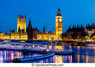 big ben, y, casa parlamento, por la noche, londres, reino unido