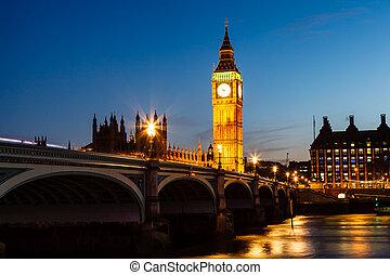big ben, y, casa parlamento, por la noche, londres, reino...