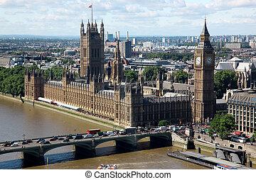 big ben, y, el, casa parlamento, en, londres, reino unido