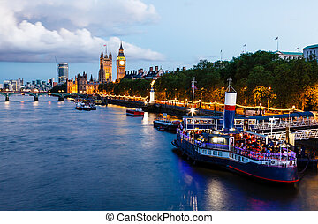 big ben, y, puente de westminster, en, el, tarde, londres,...
