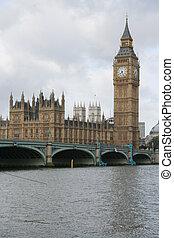 big ben, y, puente de westminster