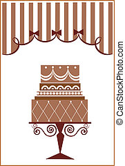 big birthday cake and party , vector illustration