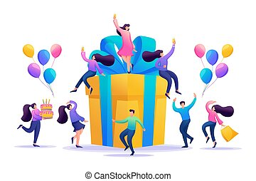 Big birthday Party with friends. People celebrate, drink champagne and have fun on a big gift. Flat 2D character. Concept for web design