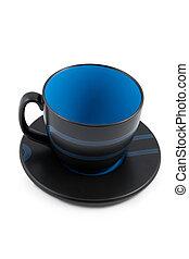 big black and blue empty mug with saucer