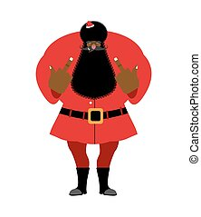 Big black bad Santa Claus shows to fuck. Aggressive drunk grandfather in red suit. Hooligan Aframerican Christmas and New Year.