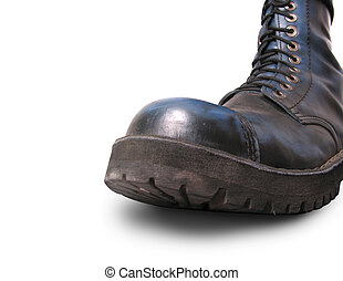 big black boot - A big black military boot in full size