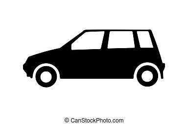 Big black car side view icon. Sport car, sedan, small mini auto and city automobile. Vector illustration