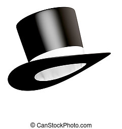 Big black cylinder hat with white ribbon isolated - Big...