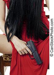 Big black gun in womans hand closeup