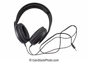 Big black headphones isolated on white
