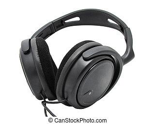 Big black headphones on a white background