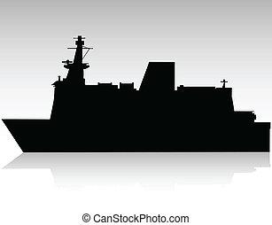 big black ship vector silhouette
