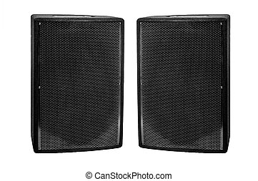Big black speakers isolated on white background