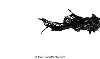 big black splashes in slow motion. oil