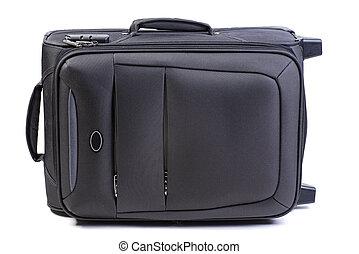 Big black suitcase isolated on white background