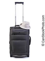 Big black suitcase with hat isolated on white background